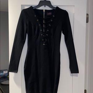 Lace Up Long Sleeve Mini Dress